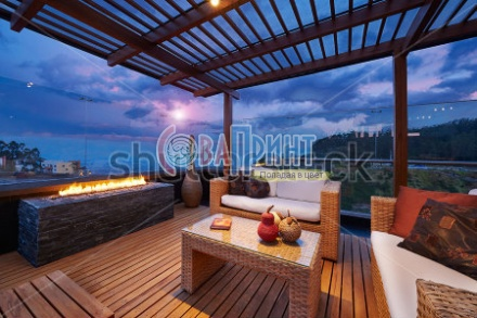 stock-photo-interior-design-beautiful-modern-terrace-lounge-with-pergola-at-sunset-151209317