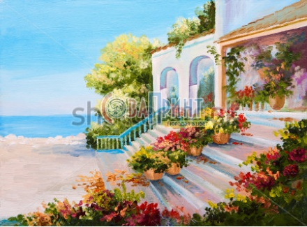 stock-photo-oil-painting-landscape-terrace-near-the-sea-flowers-232372141