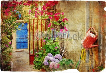 stock-photo-pictorial-courtyards-of-greek-islands-chania-town-71564896