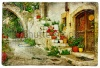 stock-photo-pictorial-greek-villages-lutra-artwork-in-retro-style-58581979