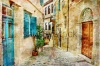 stock-photo-pictorial-old-streets-of-greece-picture-in-painting-style-134074400